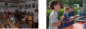 Die Kinder im Vereinsheim und am Grill